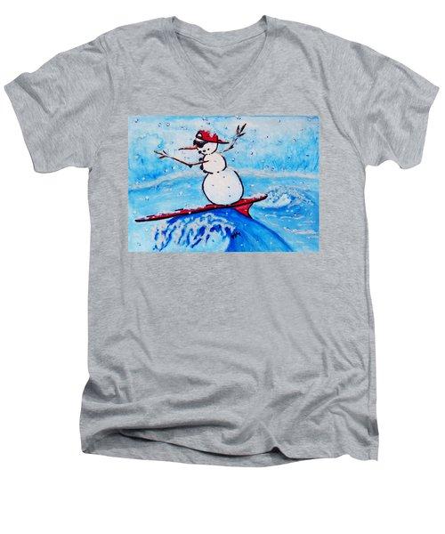 Surfing Snowman Men's V-Neck T-Shirt