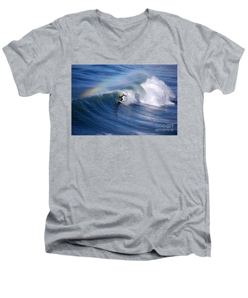 Surfing Under A Rainbow Men's V-Neck T-Shirt