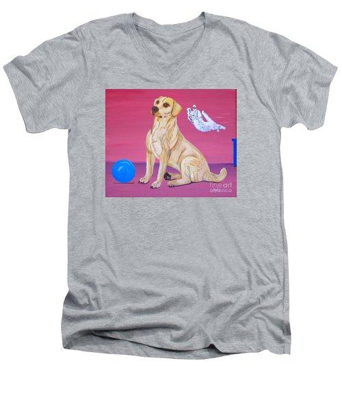 Surprise Men's V-Neck T-Shirt by Phyllis Kaltenbach