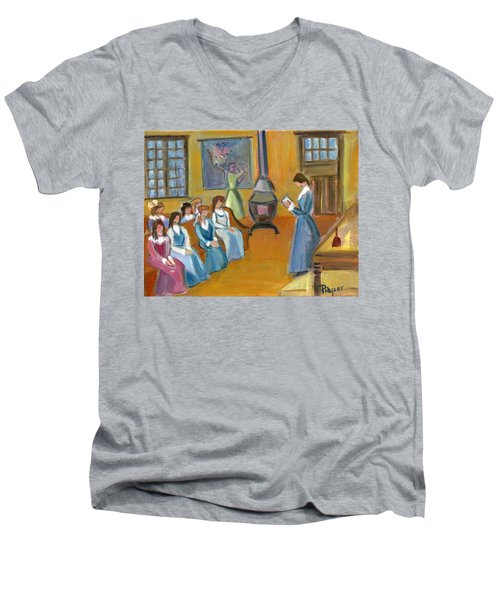 Susan B. Anthony Teaching In Canajoharie Men's V-Neck T-Shirt by Betty Pieper