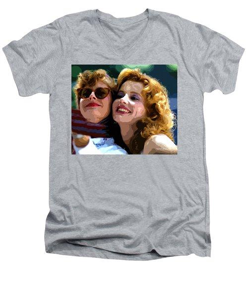 Susan Sarandon And Geena Davies Alias Thelma And Louis - Watercolor Men's V-Neck T-Shirt by Doc Braham