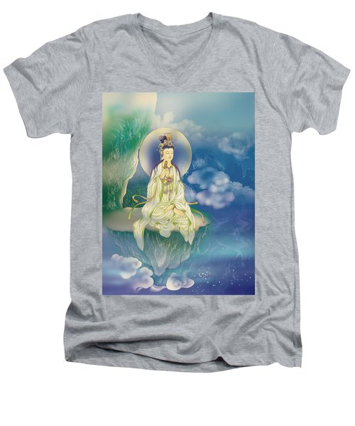 Sutra-holding Kuan Yin Men's V-Neck T-Shirt by Lanjee Chee
