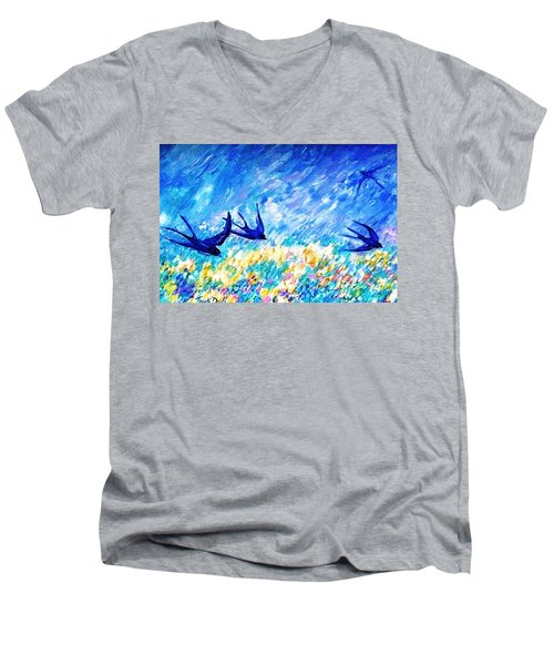 Swallows In Summer Men's V-Neck T-Shirt by Trudi Doyle