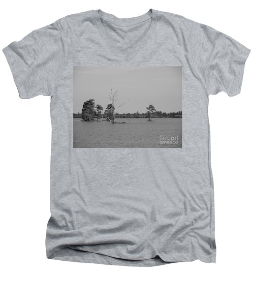 Men's V-Neck T-Shirt featuring the photograph Swamp Cypress Trees Black And White by Joseph Baril