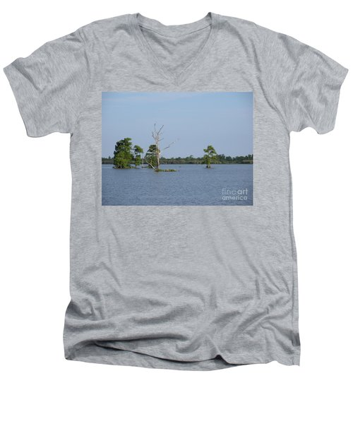 Men's V-Neck T-Shirt featuring the photograph Swamp Cypress Trees by Joseph Baril