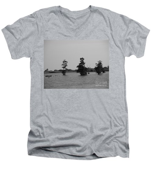 Men's V-Neck T-Shirt featuring the photograph Swamp Tall Cypress Trees Black And White by Joseph Baril