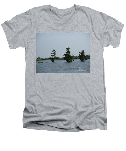 Men's V-Neck T-Shirt featuring the photograph Swamp Tall Cypress Trees  by Joseph Baril