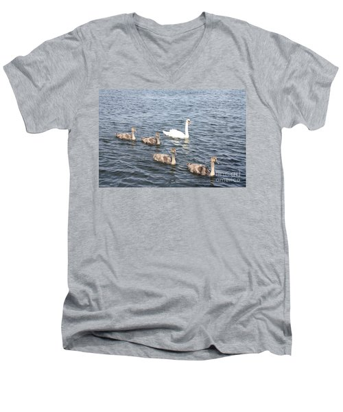 Men's V-Neck T-Shirt featuring the photograph Swan And His Ducklings by John Telfer