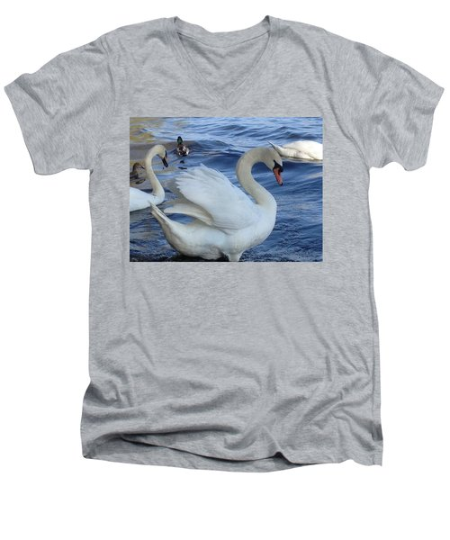 Swan Grace Men's V-Neck T-Shirt by Pema Hou