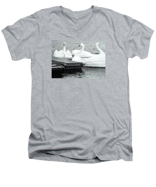 Men's V-Neck T-Shirt featuring the photograph White Swan Lake by Belinda Lee