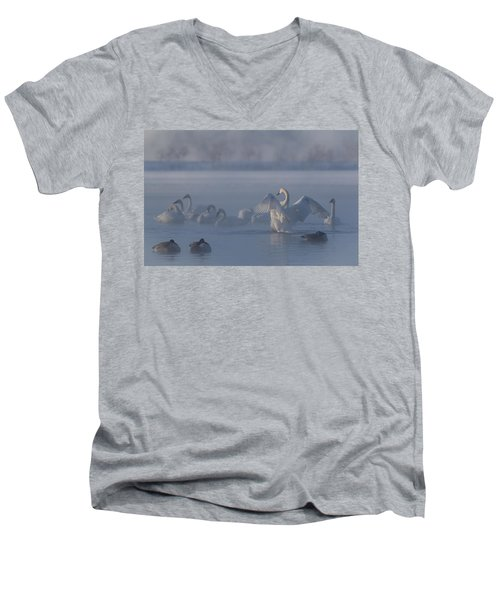 Men's V-Neck T-Shirt featuring the photograph Swan Showing Off by Patti Deters