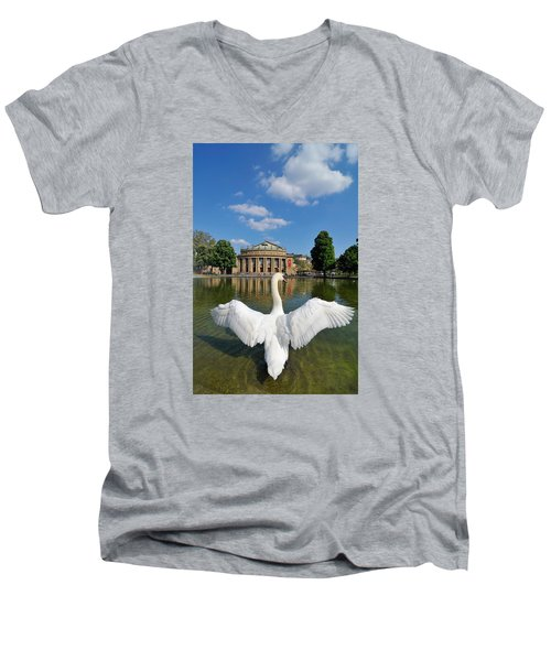 Swan Spreads Wings In Front Of State Theatre Stuttgart Germany Men's V-Neck T-Shirt by Matthias Hauser