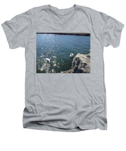 Swans And Sparkles Men's V-Neck T-Shirt by Pema Hou