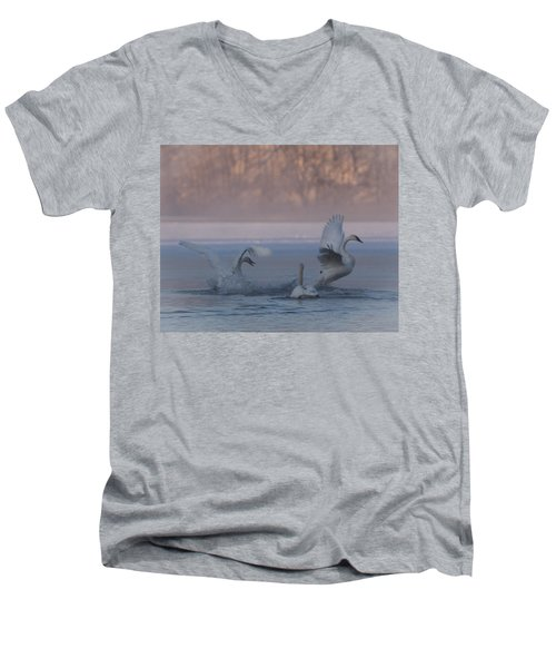 Men's V-Neck T-Shirt featuring the photograph Swans Chasing by Patti Deters