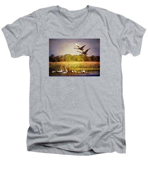 Swans In Flight Men's V-Neck T-Shirt by Kym Clarke