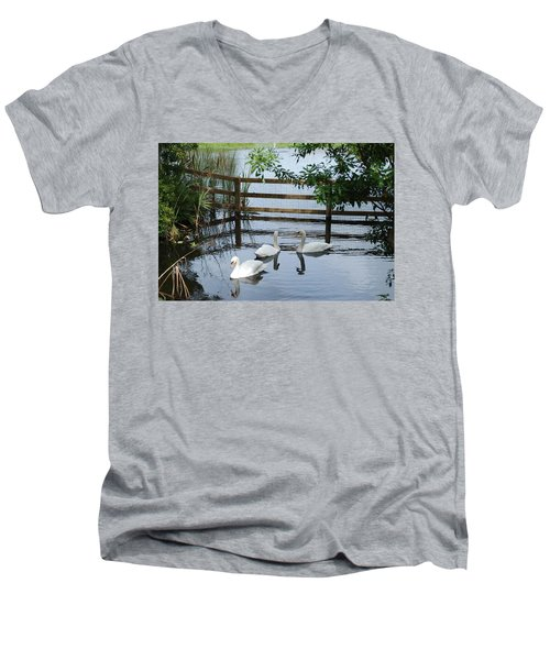 Swans In The Pond Men's V-Neck T-Shirt