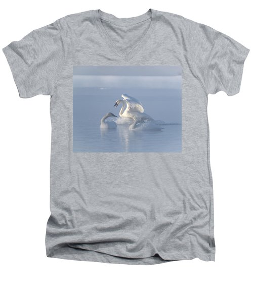 Men's V-Neck T-Shirt featuring the photograph Trumpeter Swans - Three's Company by Patti Deters