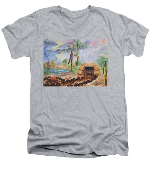 Sweat Lodge Men's V-Neck T-Shirt by Ellen Levinson