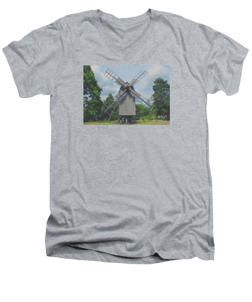 Men's V-Neck T-Shirt featuring the photograph Swedish Old Mill by Sergey Lukashin