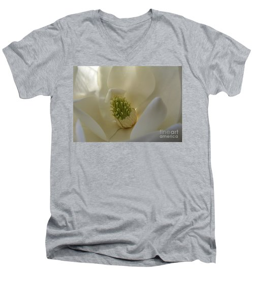 Sweet Magnolia Men's V-Neck T-Shirt by Peggy Hughes