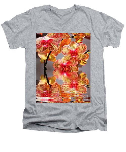 Sweet Orchid Reflection Men's V-Neck T-Shirt