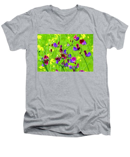 Men's V-Neck T-Shirt featuring the photograph Sweet Peas by Byron Varvarigos
