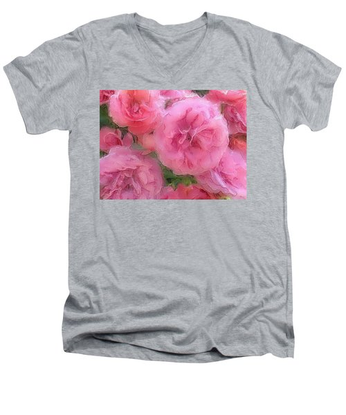 Men's V-Neck T-Shirt featuring the mixed media Sweet Pink Roses  by Gabriella Weninger - David