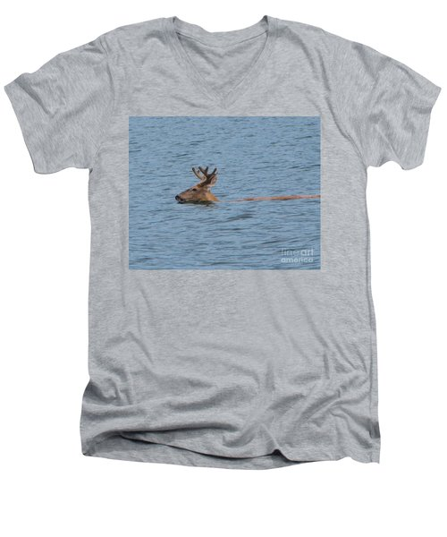 Swimming Deer Men's V-Neck T-Shirt