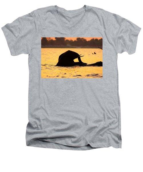 Men's V-Neck T-Shirt featuring the photograph Swimming Kalahari Elephants by Amanda Stadther