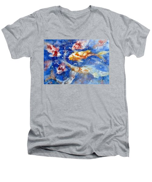 Swimming Koi Fish Men's V-Neck T-Shirt