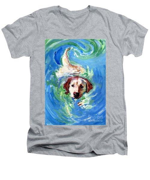 Swirl Pool Men's V-Neck T-Shirt by Molly Poole