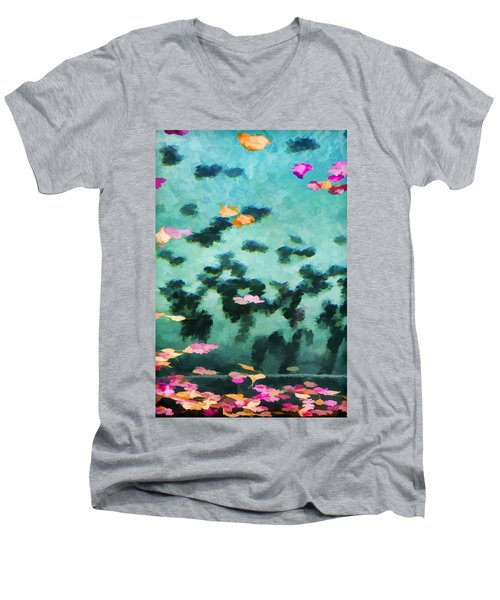 Swirling Leaves And Petals 2 Men's V-Neck T-Shirt