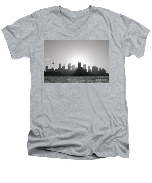 Sydney's Evening B/w Men's V-Neck T-Shirt