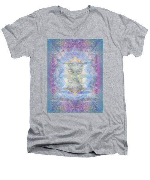 Synthecentered Doublestar Chalice In Blueaurayed Multivortexes On Tapestry Lg Men's V-Neck T-Shirt