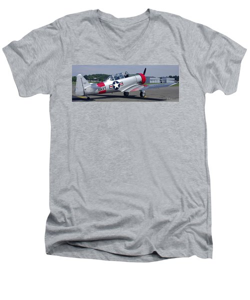 Men's V-Neck T-Shirt featuring the photograph T 6 Navy Trainer by James C Thomas