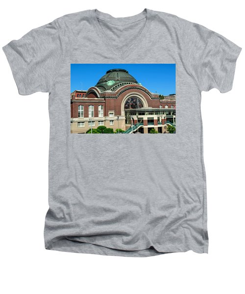 Tacoma Court House At Union Station Men's V-Neck T-Shirt by Tikvah's Hope