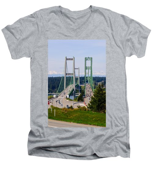 Tacoma Narrows Bridge Men's V-Neck T-Shirt