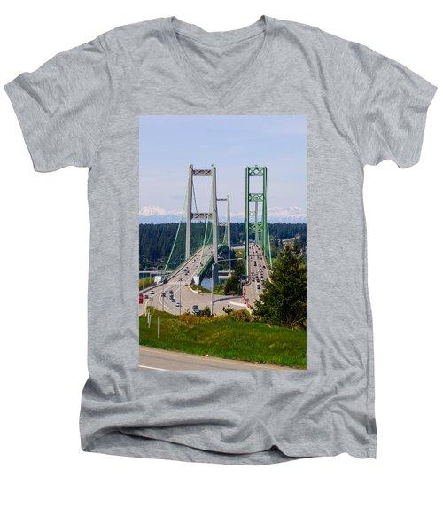 Tacoma Narrows Bridge Men's V-Neck T-Shirt