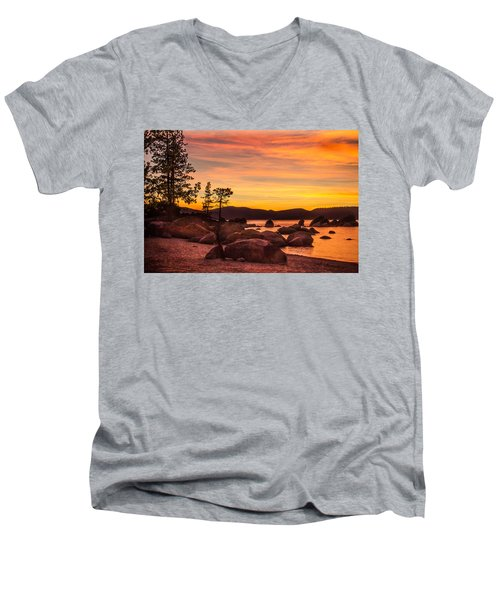 Men's V-Neck T-Shirt featuring the photograph Tahoe Golden Sunset by Steven Bateson