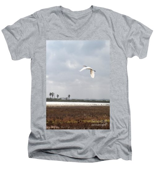 Men's V-Neck T-Shirt featuring the photograph Take Off by Erika Weber