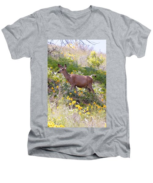 Men's V-Neck T-Shirt featuring the photograph Taking A Stroll In The Country by Athena Mckinzie