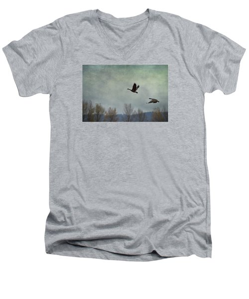 Taking Flight Men's V-Neck T-Shirt by Belinda Greb