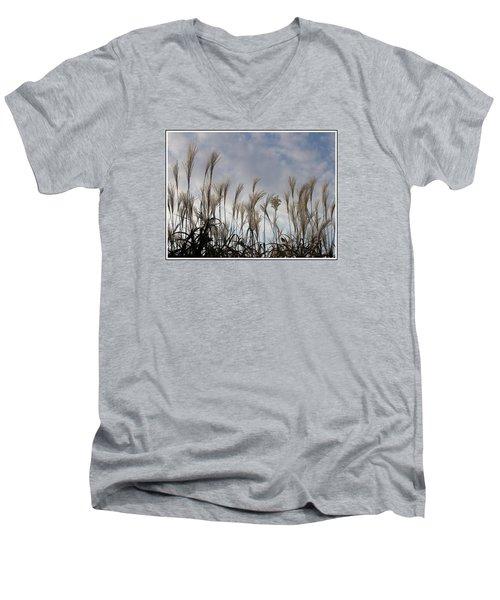 Tall Grasses And Blue Skies Men's V-Neck T-Shirt by Dora Sofia Caputo Photographic Art and Design