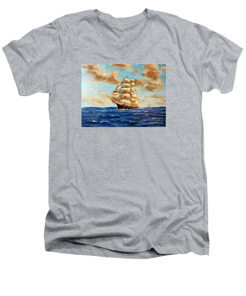 Tall Ship On The South Sea Men's V-Neck T-Shirt by Lee Piper