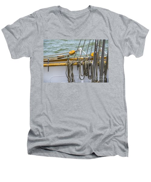 Men's V-Neck T-Shirt featuring the photograph Tall Ship Rigging by Dale Powell