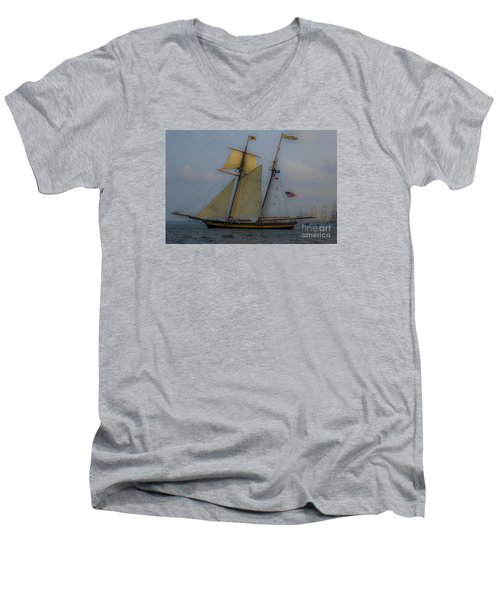 Tall Ships In The Lowcountry Men's V-Neck T-Shirt by Dale Powell