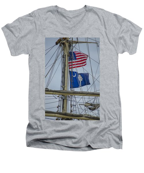Men's V-Neck T-Shirt featuring the photograph Tall Ships Flags by Dale Powell