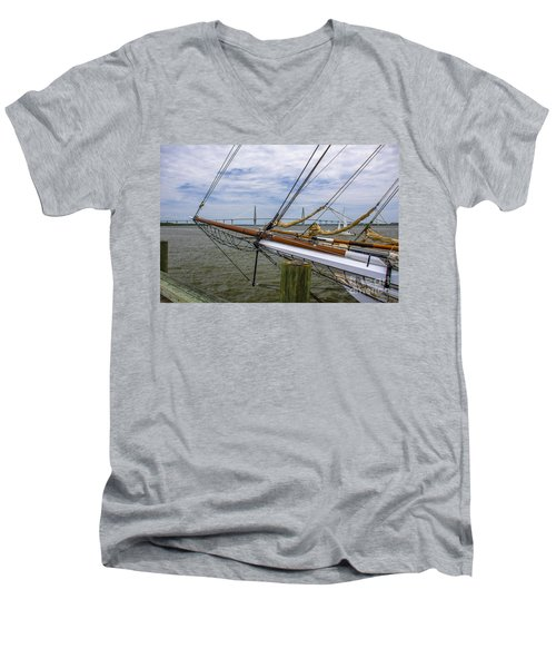 Men's V-Neck T-Shirt featuring the photograph Tall Ships In Charleston by Dale Powell
