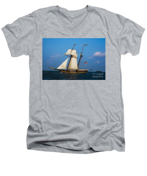 Tall Ships Over Charleston Men's V-Neck T-Shirt by Dale Powell