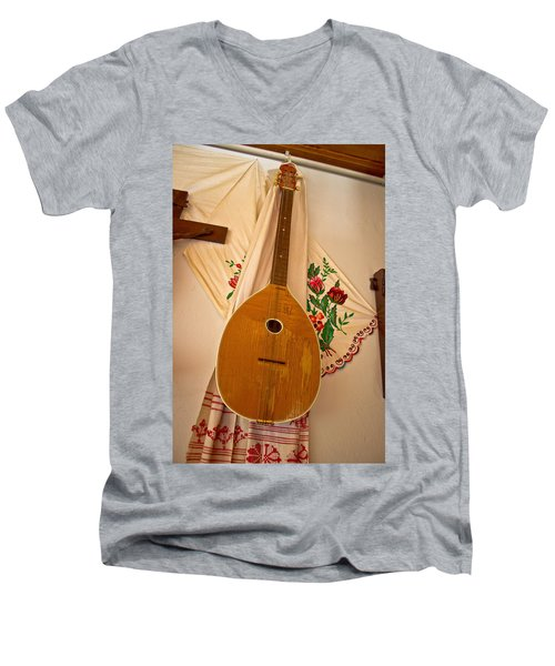 Tamburica Croatian Traditional Music Instrument Men's V-Neck T-Shirt